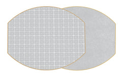 Two Sided Holly's Key and Dot Fan Ellipse Placemat Gray