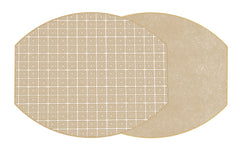 Two Sided Holly's Key and Dot Fan Ellipse Placemat Latte