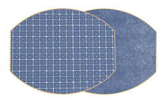 Two Sided Holly's Key and Dot Fan Ellipse Placemat Navy