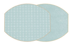 Two Sided Holly's Key and Dot Fan Ellipse Placemat Sea