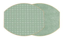 "Two Sided Holly's Key and Dot Fan 17"" X 14"" Ellipse Hardwood  Placemat"
