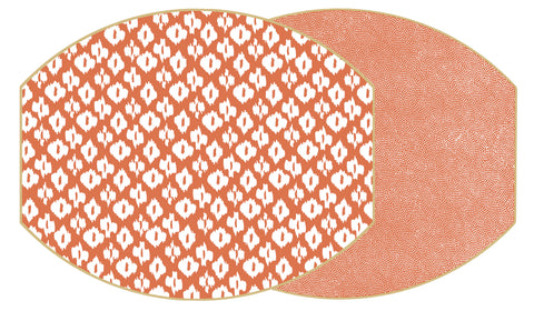 "Two Sided Ikat and Dot Fan 17"" X 14""  Ellipse Placemat"