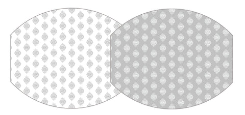 TWO SIDED ELLIPSE PLACEMAT JAIPUR AND JAIPUR REVERSE IN GRAY WITH PLATINUM EDGE