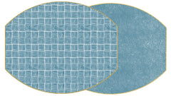 "Two Sided Modern Squares and Dot Fan 17"" X 14"" Ellipse Hardwood Placemat"