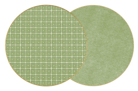 "Two Sided Holly's Key and Dot Fan 15 "" Round Hardwood Placemat"