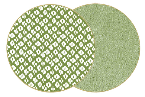 "Two Sided Ikat and Dot Fan 15 "" Round Placemat"