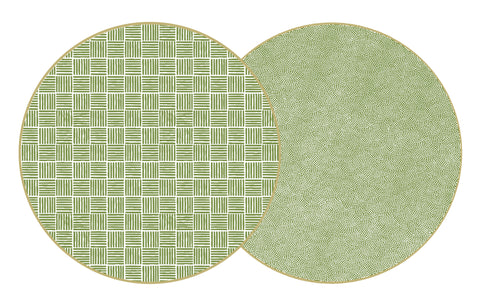 TWO SIDED MODERN SQUARES AND DOT FAN ROUND PLACEMAT.  15""
