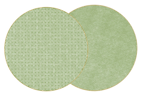 "Two Sided Sayagata and Dot Fan 15 "" Round Placemat"