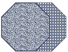 "TWO SIDED ZEBRA AND DOT FAN OCTAGONAL PLACEMAT 15.25"" X 15.25"""