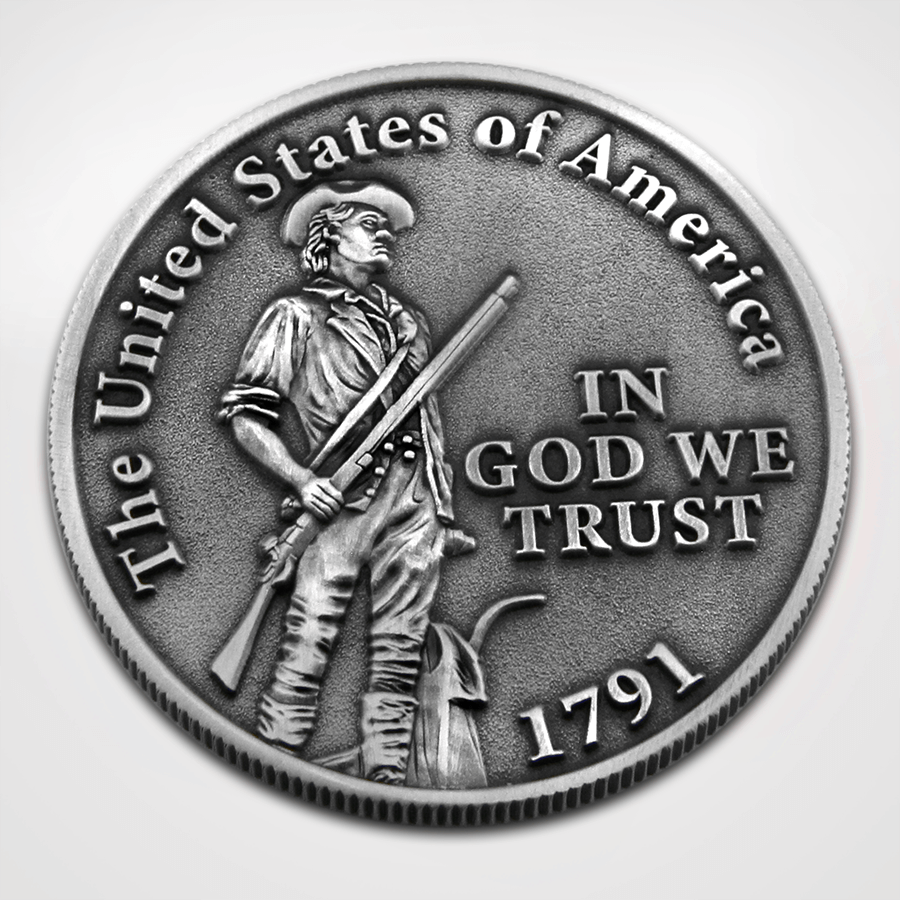 2nd Amendment Coin - Front minute man Soldier