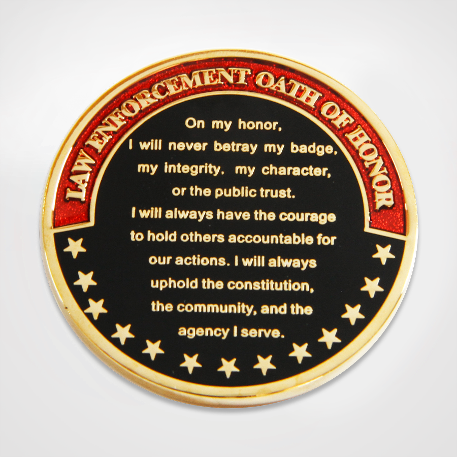 Law Enforcement Oath of Honor Coin Back