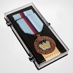 JROTC Medal award with Blue, Red and White Ribbon Attachment in box