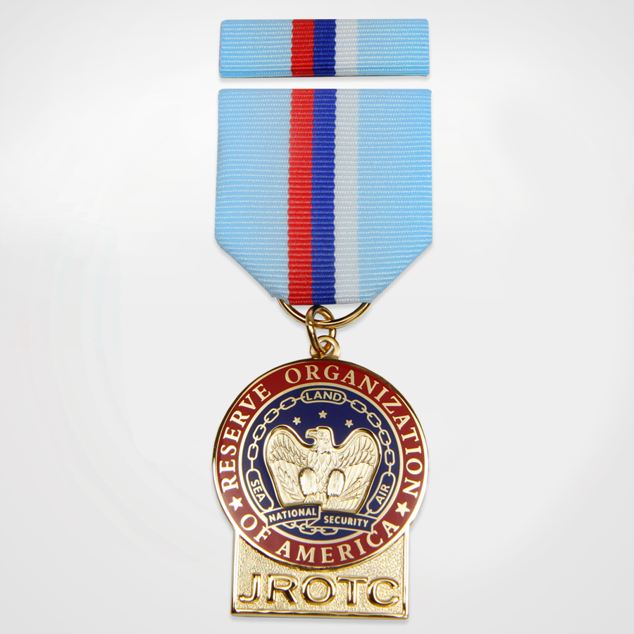 JROTC Medal award with Blue, Red and White Ribbon Attachment