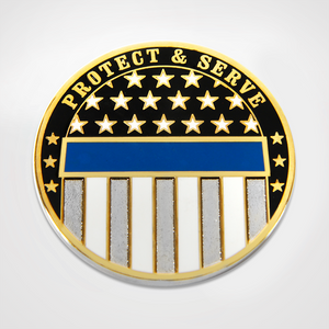 Protect and Serve coin featuring modified blue line flag design