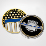 Blue line Shield Coins Front and Back
