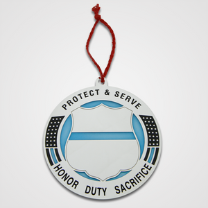 Protect & Serve badge, blue translucent ornament.