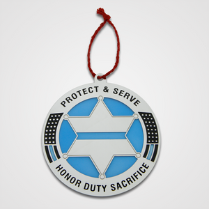 Protect & Serve star, blue translucent ornament.