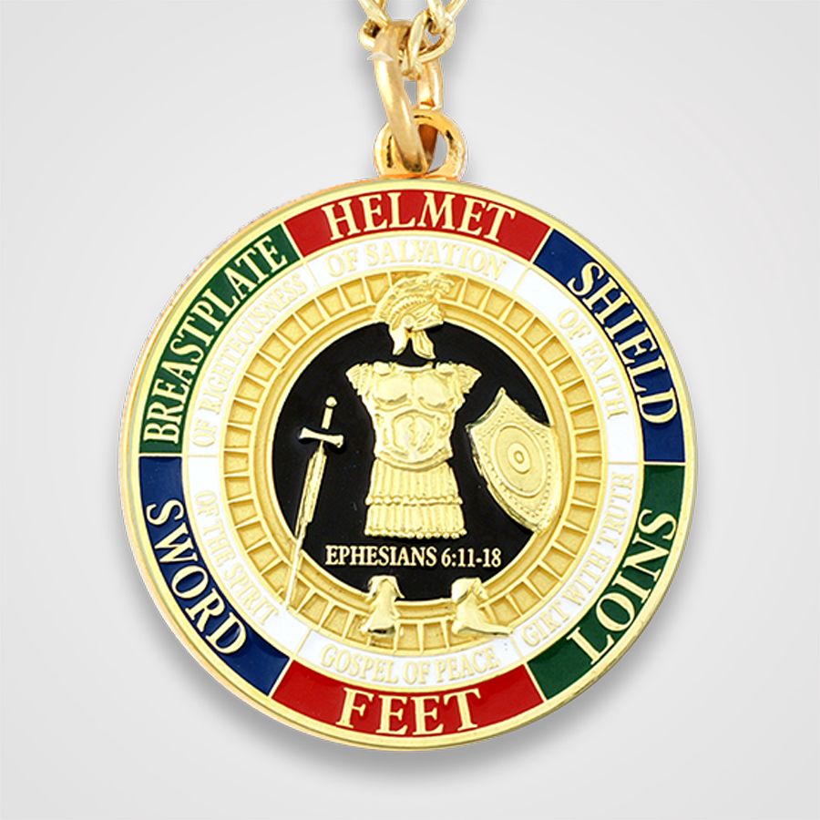 Armor of God Gold Pendant Front
