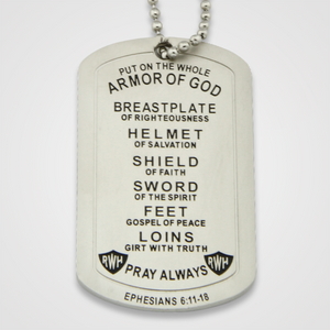 Load image into Gallery viewer, Armor of God Dog Tag Male-Back