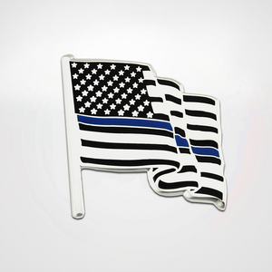 Wavy flag shaped pin with enamel blue line flag design