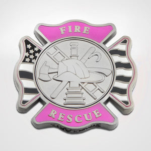 Pink Fire and Rescue Maltese Coin Front