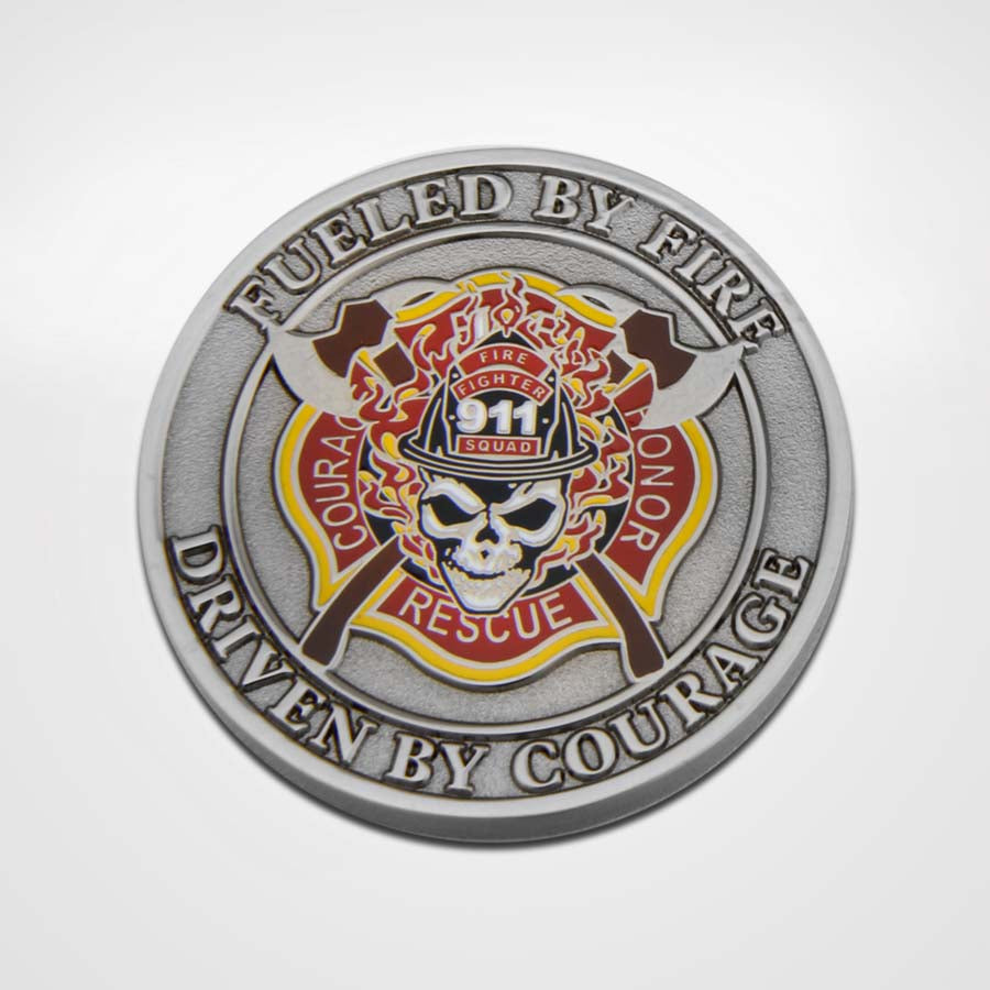 Antique Silver Fueled by Fire Coin-Front