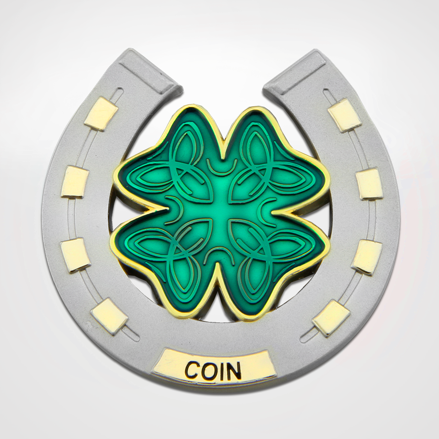 Load image into Gallery viewer, Lucky Coins horseshoe and 4 leaf clover Back