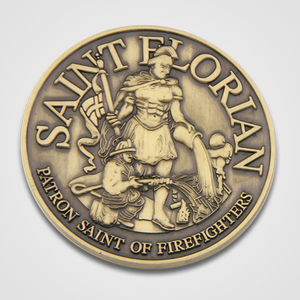 Antique Gold Saint Florian Coin-Front