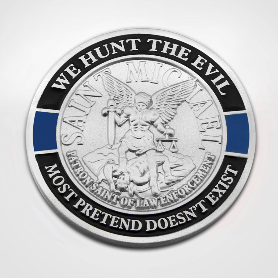 Load image into Gallery viewer, St. Michael Blue Line Coin Front St. Michael