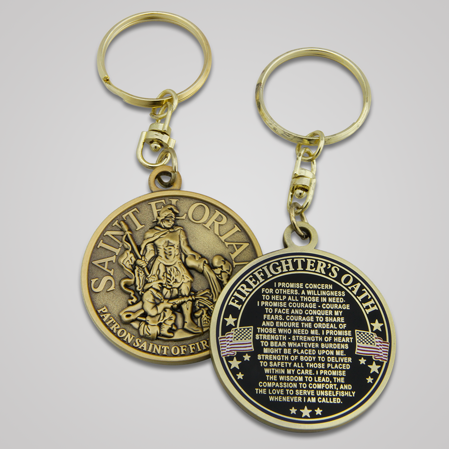 Antique Gold Saint Florian Keychains