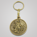 Antique Gold Saint Florian Keychain-Front