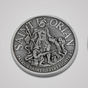 Antique Silver Saint Florian Coin-Front