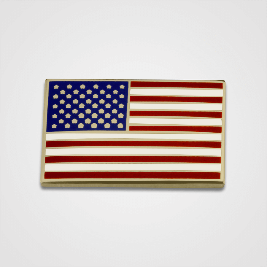 USA Flag Pin Gold