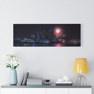 Singapore (Marina Bay Fireworks) Canvas Gallery Wrap