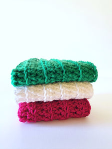 Crochet Washcloths, Crochet dish towels, Crochet Christmas washcloths, 100% soft cotton, Baby wipes, Crochet linen