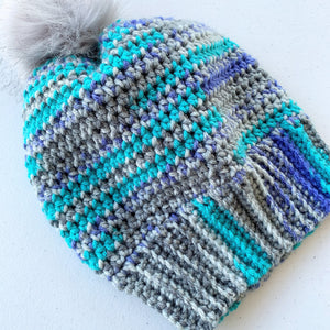 Blue and Gray Beanie