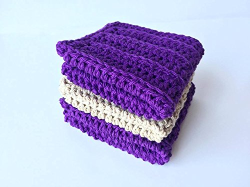 Handmade Crochet Wash Cloths, Dish Towels, Baby wipes, Baby wash cloths, Spa Cloths, 100% Purple and Beige Cotton Wash Cloths set of 3