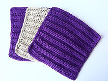 Load image into Gallery viewer, Handmade Crochet Wash Cloths, Dish Towels, Baby wipes, Baby wash cloths, Spa Cloths, 100% Purple and Beige Cotton Wash Cloths set of 3