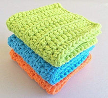 Load image into Gallery viewer, Handmade Crochet Wash Cloths Set of 3, Dish Towels Lime, Blue and Orange