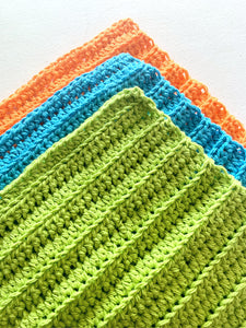 Handmade Crochet Wash Cloths Set of 3, Dish Towels Lime, Blue and Orange