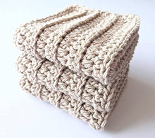 Load image into Gallery viewer, Beige Washcloths, Dishtowels, 100% Cotton