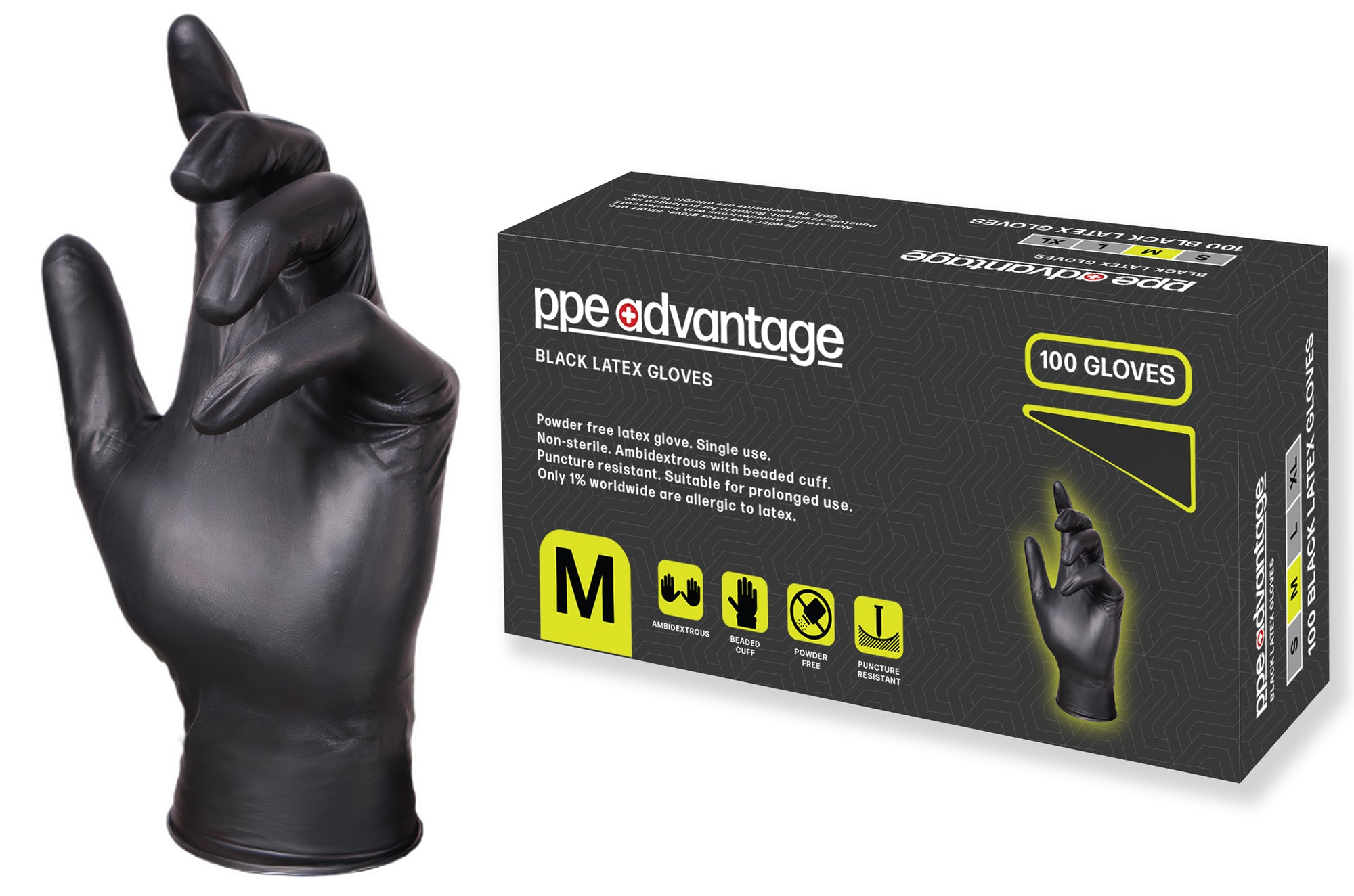 3100 PPE Advantage Black Nitrile Gloves - Non Medical | PPE Advantate powered by dS Product Hunters