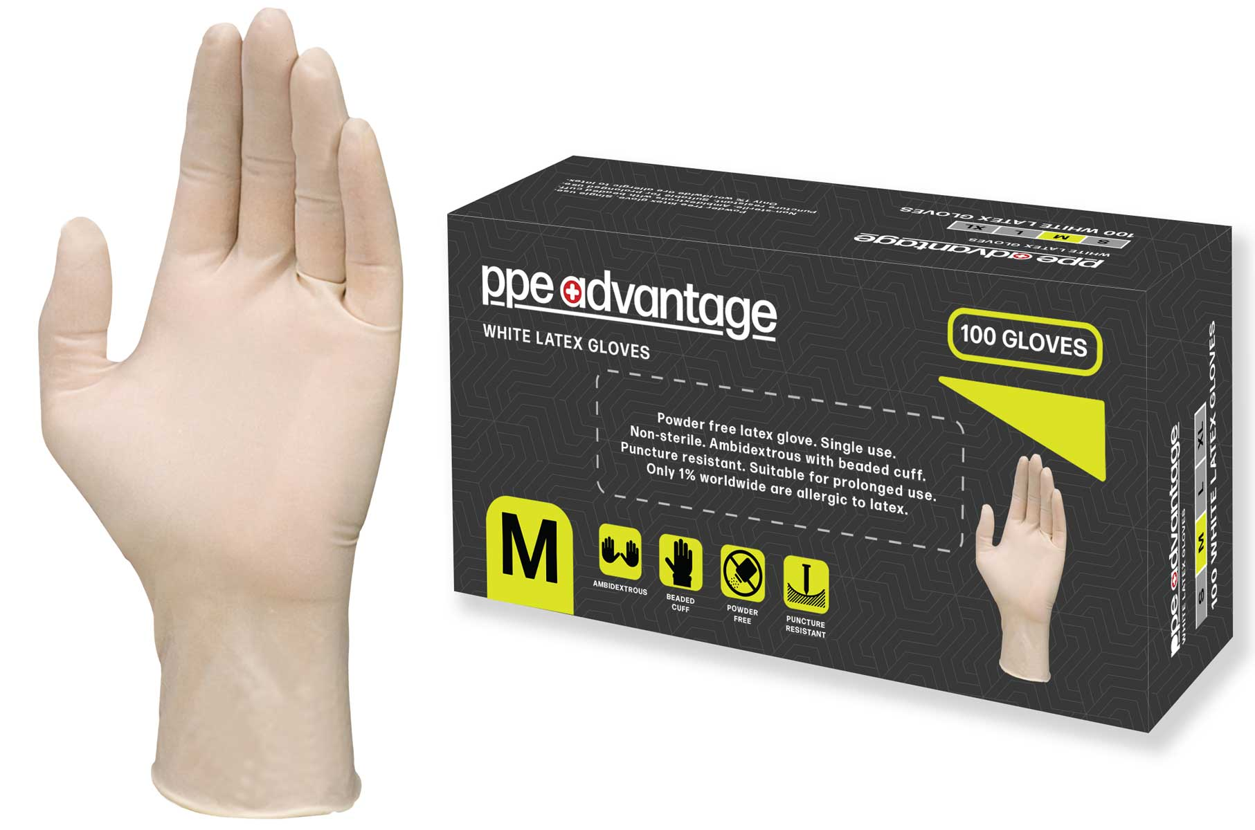 3013 PPE Advantage White Latex Gloves