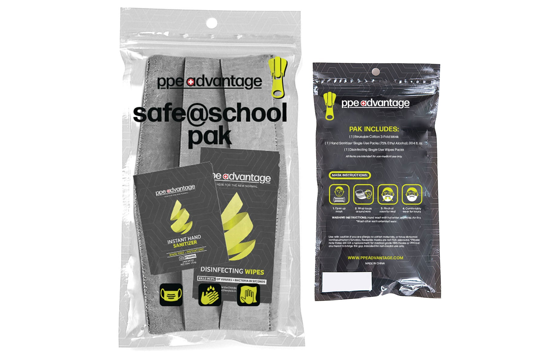 3149 Safe@School Paks - Grey - 1 Mask, 5 each Sanitizer Sachets and Wipes | PPE Advantate powered by dS Product Hunters