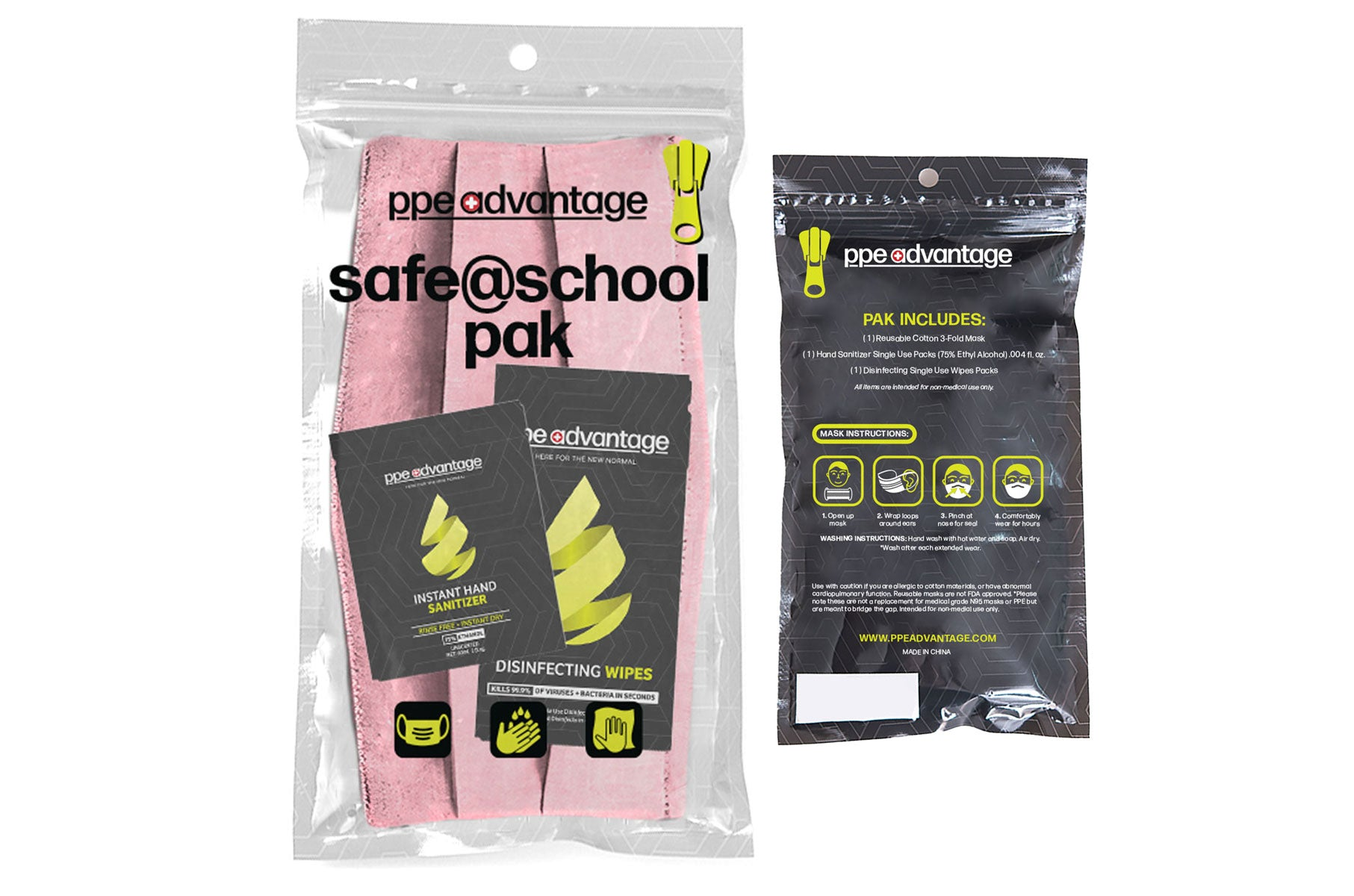 3150 Safe@School Paks - Pink - 1 Mask, 5 each Sanitizer Sachets and Wipes | PPE Advantate powered by dS Product Hunters