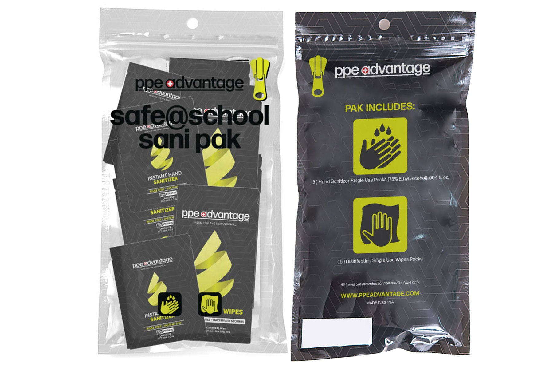 3151 Safe@School Sanapak - 10 pks each Sanitizer and Wipes | PPE Advantate powered by dS Product Hunters