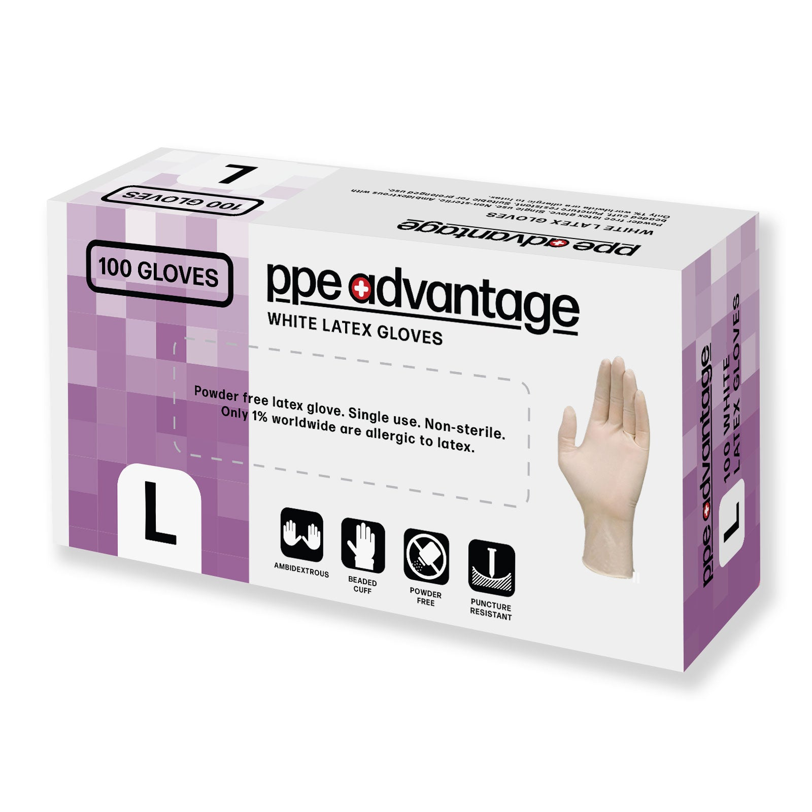 3210 PPE Advantage White Latex Gloves