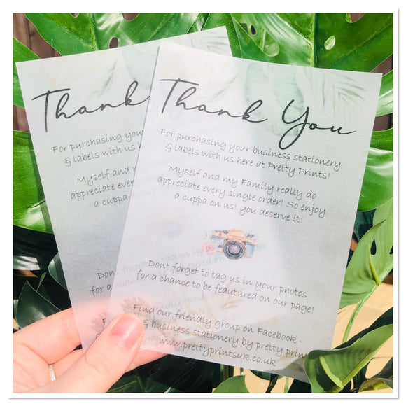 A6 thank you vellum slips