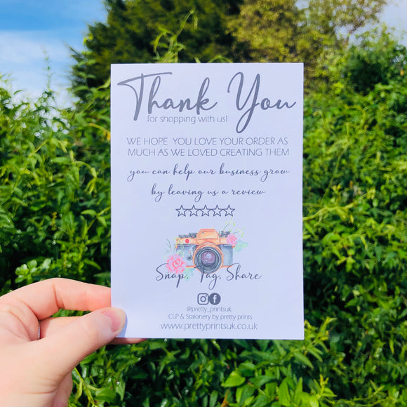 A6 thank you cards
