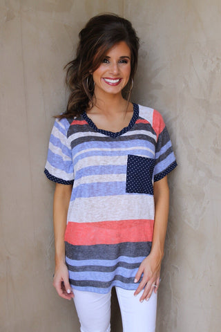 Short Sleeve Spring Striped Tee